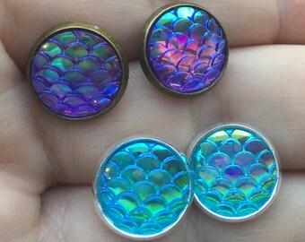 ONE PAIR, Mermaid Scale Earrings, Dragon Earrings, Scale Jewelry, Summer Earrings, Purple mermaid, Aqua Mermaid, Mermaid Earrings