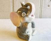 Vintage Elephant Figurine with Rhinestone Eyes - Handpainted Features - Mid Century 1960s