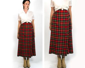 Vintage 1960's English Wool Kilt Women's Calf Length Skirt Courtelle 28 29 Inch Waist Pleated Red Plaid with Fringe Winter