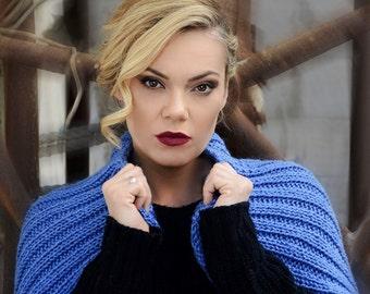 Blue Hand knit Shrug - Knitted Bolero - Short Sleeved Shrug