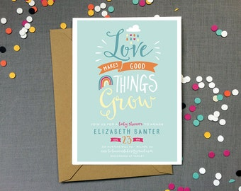 Love Makes Good Things Grow - Baby Shower invitation