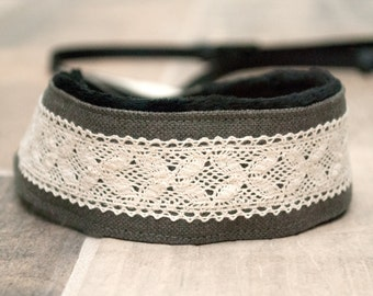 Lace SLR Camera Strap - Photographer Gift - Gifts for Her - DSLR Camera Strap - Gray Linen & Lace