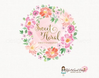 watercolor flower logo florist logo floral logo graphic design bespoke logo design photography logo watercolour logo watermark logo