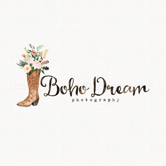 cowboy boots logo western logo design boho by