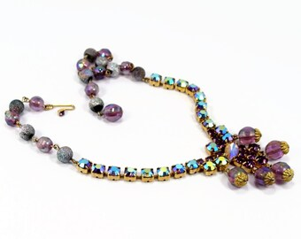Vintage Rhinestone Necklace, Purple Beads, Aurora Borealis, Vintage Jewelry, Bead Necklace, Choker Necklace, Purple Necklace, Estate Jewelry