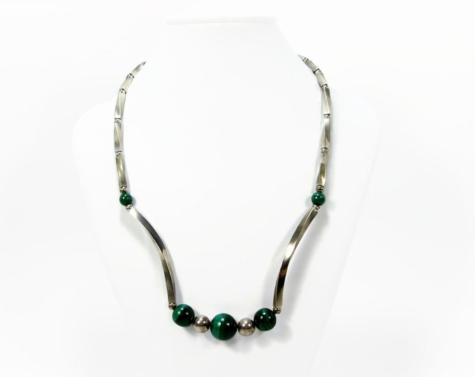 Vintage Sterling Silver Malachite Bead Necklace