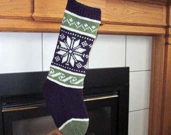 READY TO SHIP Purple, Green and Beige Knit Christmas Stocking