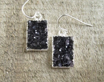 Black Druzy Earrings Drusy Quartz Drops Sterling Silver