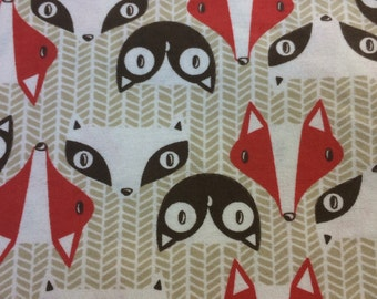 Red Foxes - Flannel Fabric BTY
