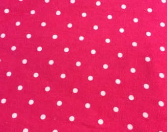 Pink and White Dots  - FLANNEL Fabric BTY