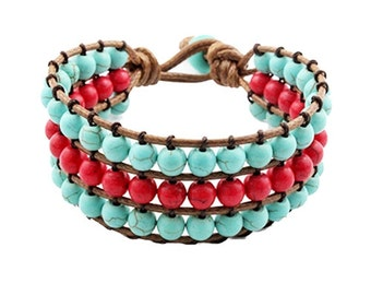 Knotted 3 Row Beaded Red and Turquoise Bracelet