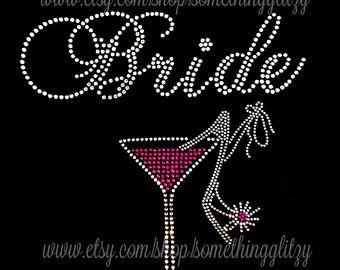 Bride Martini Glass with Heel Tank Top or Tee, plus size bride, bride bling, bridal bling, Bride Tee, Bride Tank, Bride Shirt, Bride tshirt