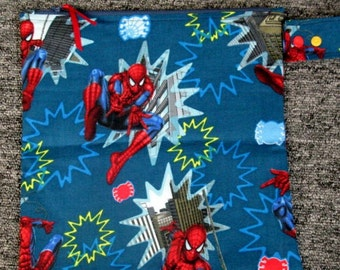 11 x 10.5 Spiderman Zippered Kids Wet Bag / With PUL Lining Made & Ready To Ship