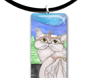 Persian, Angel, White winged grey cat, Fantasy art glass tile pendant, adorable cat, fancy, blue green grey colors