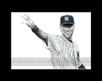 portrait drawing of Derek Jeter (matted print)