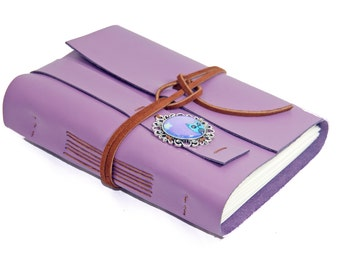 Light Purple Leather Journal - Leather Journal - Blank Paper - Handmade Journal - Prayer Journal - Travel Journal - Wrap Journal - Owl Cameo