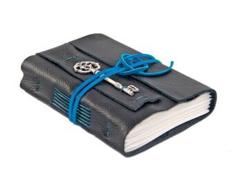 Black Leather Journal - Wrap Journal - Leather Journal - Travel Journal - Prayer Journal - Key - Bookmark - Blank Paper - Ready to Ship -