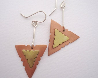 Copper and Brassl Geometric Earrings