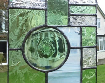 Spring Green Stained Glass Panel with Hand Made Glass Roundel