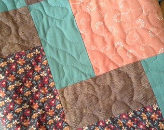 "Brown/Mint/Orange - 55"" x 76"" -Kansas Troubles Quilters/Moda/Robert Kaufman - Contemporary/Modern - Ready to Ship"