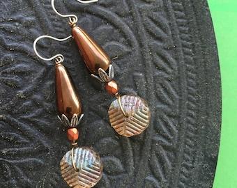 Bronze Boho Earrings - Beaded - Brass - Silver