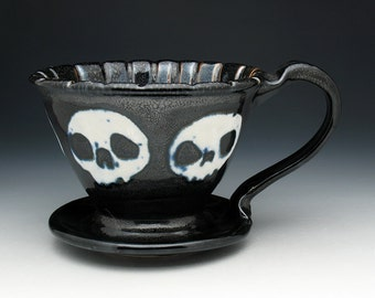 XL Skull Coffee Pour Over Filter, Morning Zombie Large Pour Over Coffee Maker