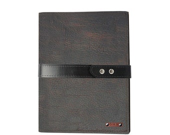 Executive Padfolio in Chocolate Grizzly Leather with Black Strap Made in the U.S.A. - EX-GZBLSTRP-PDF