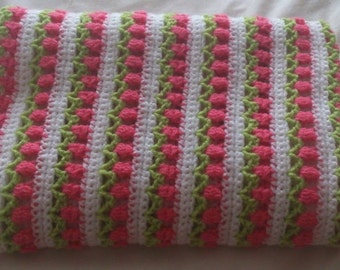 Baby Blanket Handmade in Ireland Roses in a row white,pink and green Crochet blanket for baby