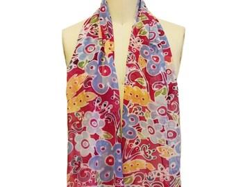 Raspberry Floral Silk Chiffon Scarf 15 x 60