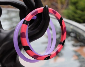 Pink and Purple Lucite Spacer Bangles - Best Plastics ca. 1960s