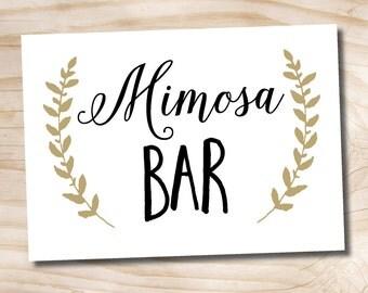 INSTANT DOWNLOAD Mimosa Bar Sign Black and Gold Wedding Sign 5x7 printable wedding bridal shower sign - printable digital file