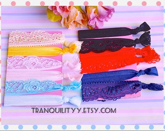Lace Hair Ties  Stretch 12 Hair Ties Pack ,  Arm Candy Stretch Bands,  Kawaii, Hipster , Girls Teens, By: Tranquilityy