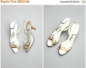 20% SALE vintage 70s disco party metallic slingbacks - sexy kitten heels / Amano - Studio 54 - 1970s ladies shoes / open toe slingback heels