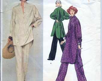 Vintage 1970s Vogue 1258 Geoffrey Beene Tunic Top Dress And Pants Sewing Pattern Size 12 Bust 34