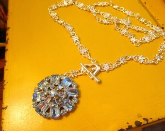 Breathtaking VINTAGE Domed, Baby BLUE Mid Century Rhinestone Pendant on Fancy Silver Plate Chain w/STERLING Silver Toggle Clasp Necklace