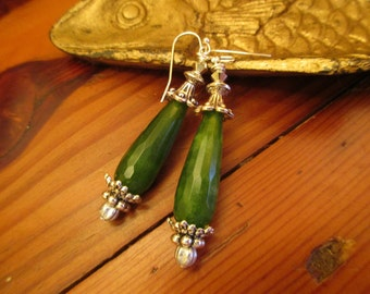 Opulent Genuine GREEN JADE Teardrop, Faceted Pierced Dangle/Drop Earrings w/Swarovski Crystals & STERLING Silver Embellishments