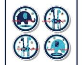 4 set  Blue and Teal  Elephant Giraffe kids Girls Boy  Dresser Drawer Knobs  mtm Bedding