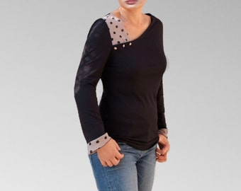 Top Jersey asymmetric Womens Shirts/multi-color tops/ Mixed fabris blouses/gift ideas/French made