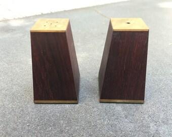 Mid Century Salt and Pepper Shaker Set Rosewood Brass