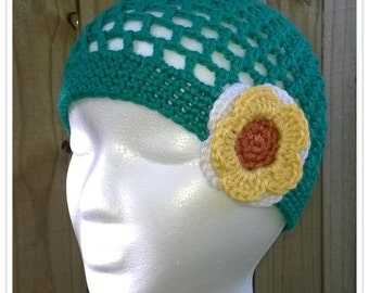 Teal Mesh Crochet Summer Hat with Flower Accent