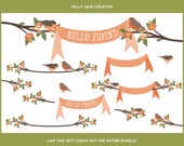 Orange Blossoms on Branches Clip Art   Birds in Tree   Blooming Branches Illustrations   Orange Ribbon Banners   Bird Graphics