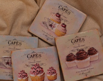 French Cafe' Coasters, Cupcakes Coasters, Kitchen Decor, Drink Coaster, Coffee Break, Coffee Decor, Coffee Table Decor, TV Drink Holder