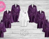 Bridesmaid Robes, Bridesmaids Gifts, Personalized Satin Robes,Wedding Robes,Set of 2 3 4 5 6 7 8 9 10 11 12 13 14 15 Purple Plum