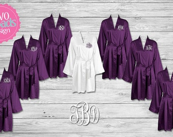 Bridesmaid Robes, Bridesmaids Gifts, Purple Plum Personalized Satin Robes,Wedding Robes,Set of 2 3 4 5 6 7 8 9 10 11 12 13 14 15 Purple Plum