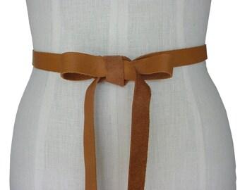 Leather Ribbon Belt Honey Tan Leather Bow, Wedding Dress Sash Leather Ribbon Strap Belt Seamless Wedding Dress Belt  L XL XXL custom made