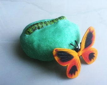 CATERPILLAR COCOON BUTTERFLY Large Bath Candy - Fun Idea Party Favors - Toy Science Insect Nature Life Cycle Bath Bomb Fizz Fun - Game Idea