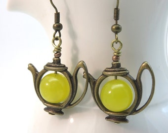 Tea pot earrings -  yellow aventurine teapot earrings - yellow aventurine earrings - gemstone earrings - antiqued brass bronze vintage style