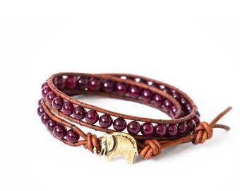 Garnet Lucky Elephant Button Leather Wrap Bracelet- Natural Stone - the Lucky Elephant Exclusive