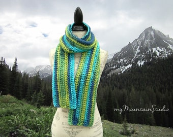 Chunky Winter Scarf in Blue and Green - Handmade