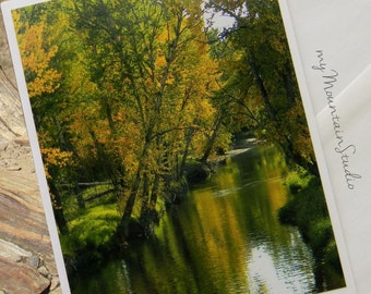 Autumn River Reflections Photo Note Card. Scenic Nature Water Photography. Montana Fall.